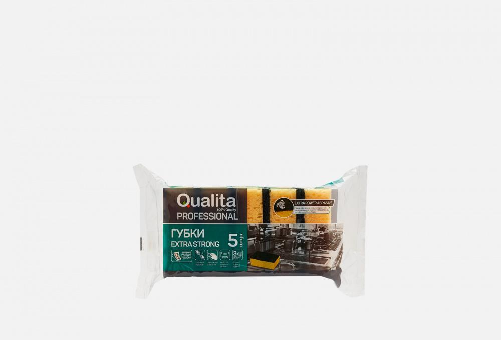 Губки кухонные 5 штук QUALITA Extra Strong