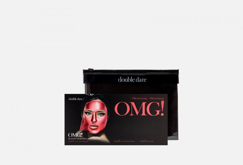 Фото - Маска трехкомпонентная для ухода за кожей лица 5шт. DOUBLE DARE OMG! Platinum Hot Pink Facial Mask Kit 5 мл маска четырехкомпонентная для ухода за кожей лица double dare omg 4in1 kit zone system mask 1 мл