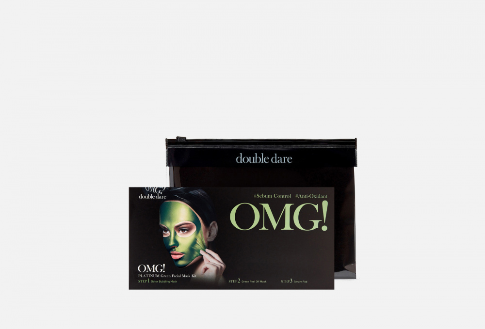 Фото - Маска трехкомпонентная для ухода за кожей лица 5шт. DOUBLE DARE OMG! Platinum Green Facial Mask Kit 5 мл маска четырехкомпонентная для ухода за кожей лица double dare omg 4in1 kit zone system mask 1 мл
