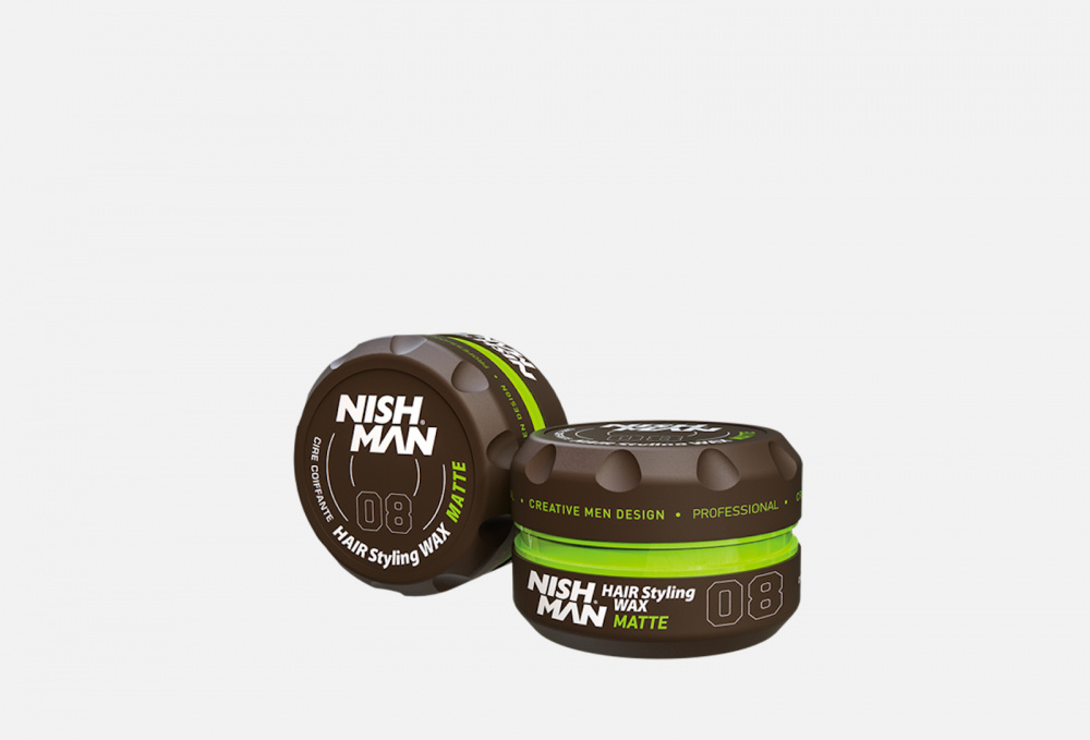 Матовый воск на водной основе для волос, черная ваниль NISHMAN Hair Styling Matte Looking Wax 08 100 мл