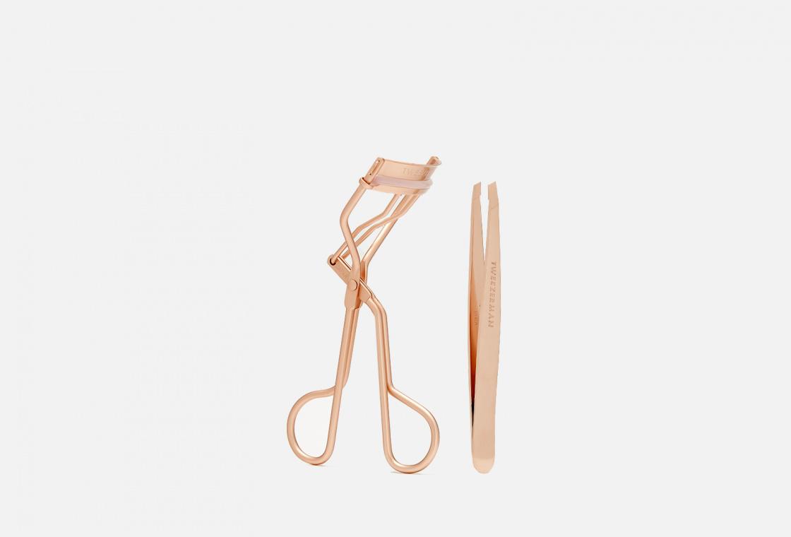 Подарочный набор с пинцетом и щипцами для завивки ресниц TWEEZERMAN ROSE GOLD