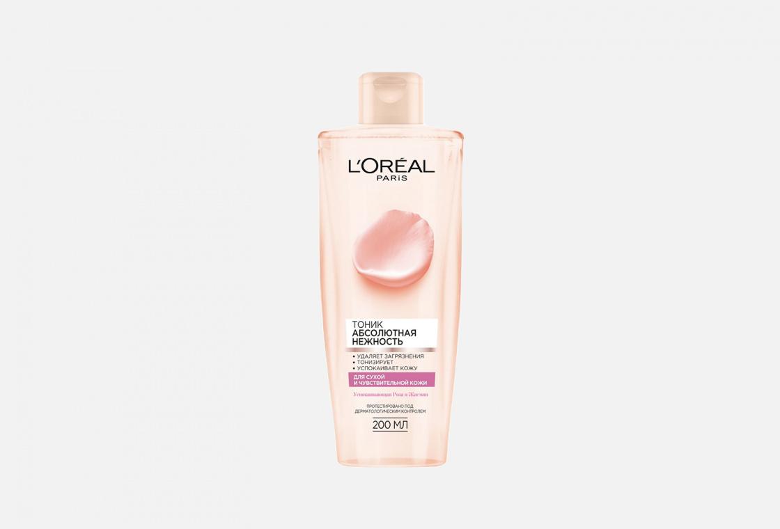 Очищающий тоник для сухой и чувствительной кожи, с экстрактами Розы и Жасмина L'Oreal Paris Абсолютная свежесть