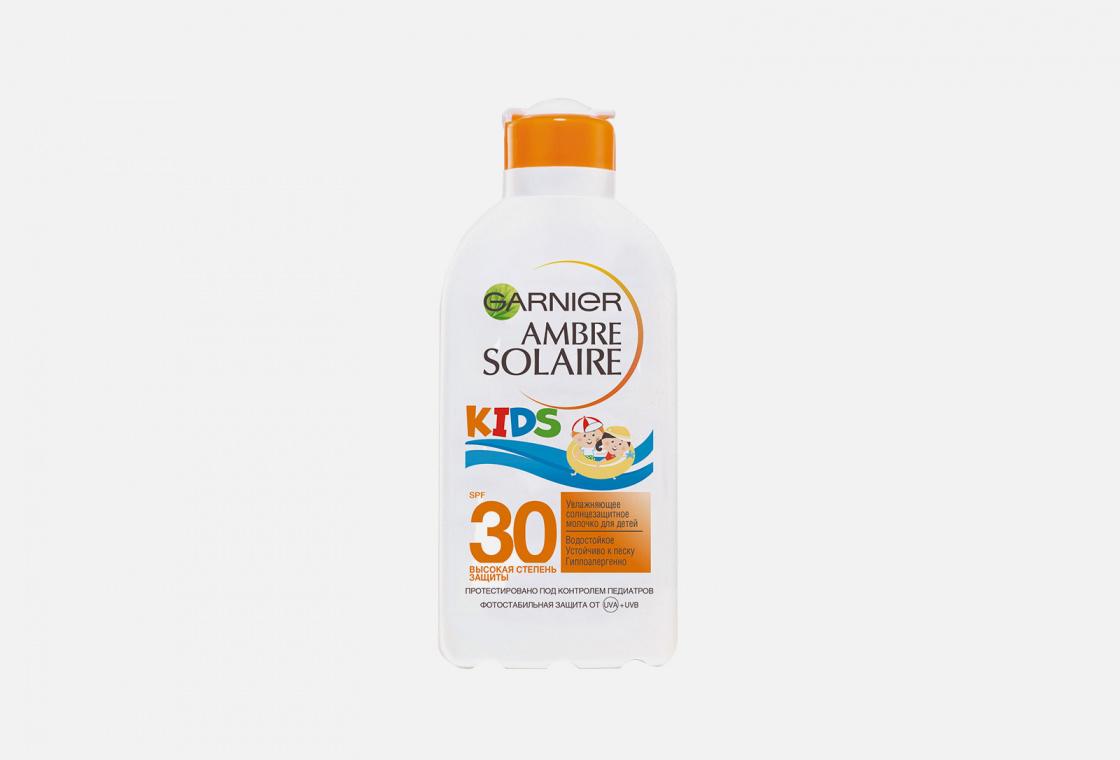 Детское солнцезащитное молочко увлажняющее, водостойкое, гипоаллергенное Garnier Ambre Solaire Непобедимое SPF 30