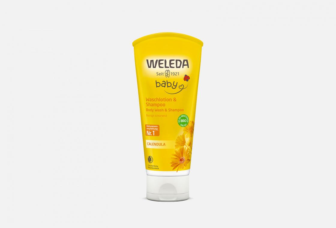 Шампунь-гель детский для волос и тела с календулой  Weleda Calendula Baby Wash & Shampoo