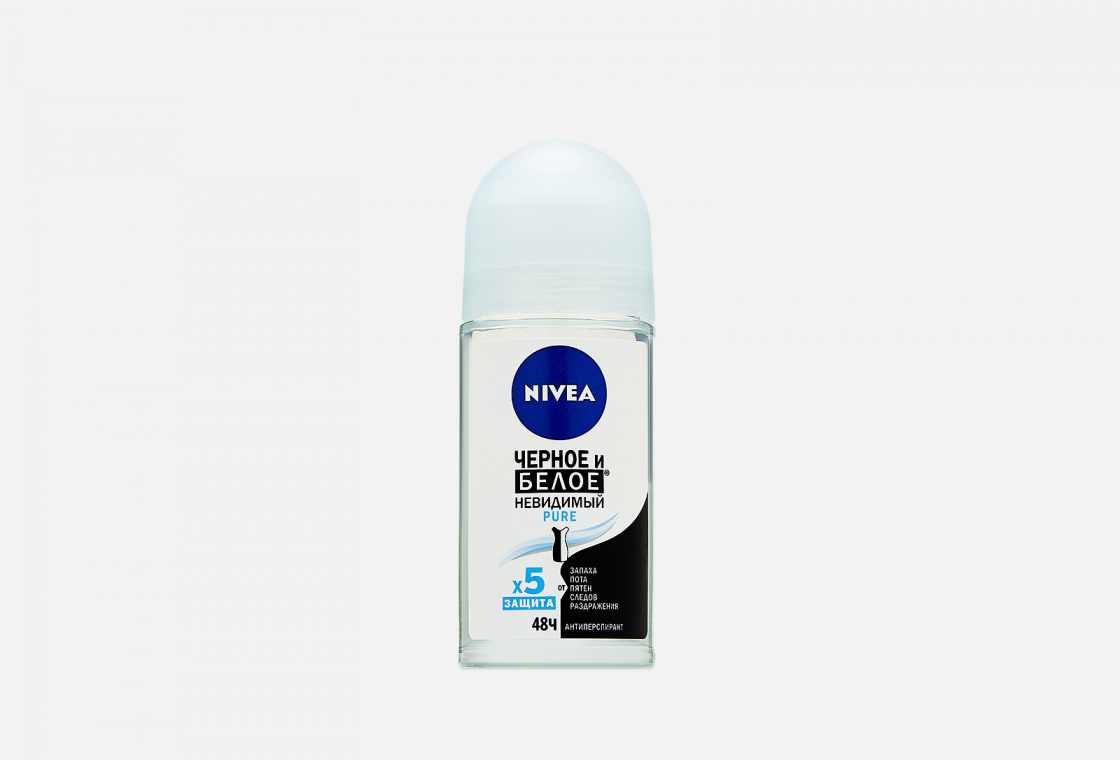 Дезодорант-антиперспирант шариковый  NIVEA Черное и Белое Невидимый Pure