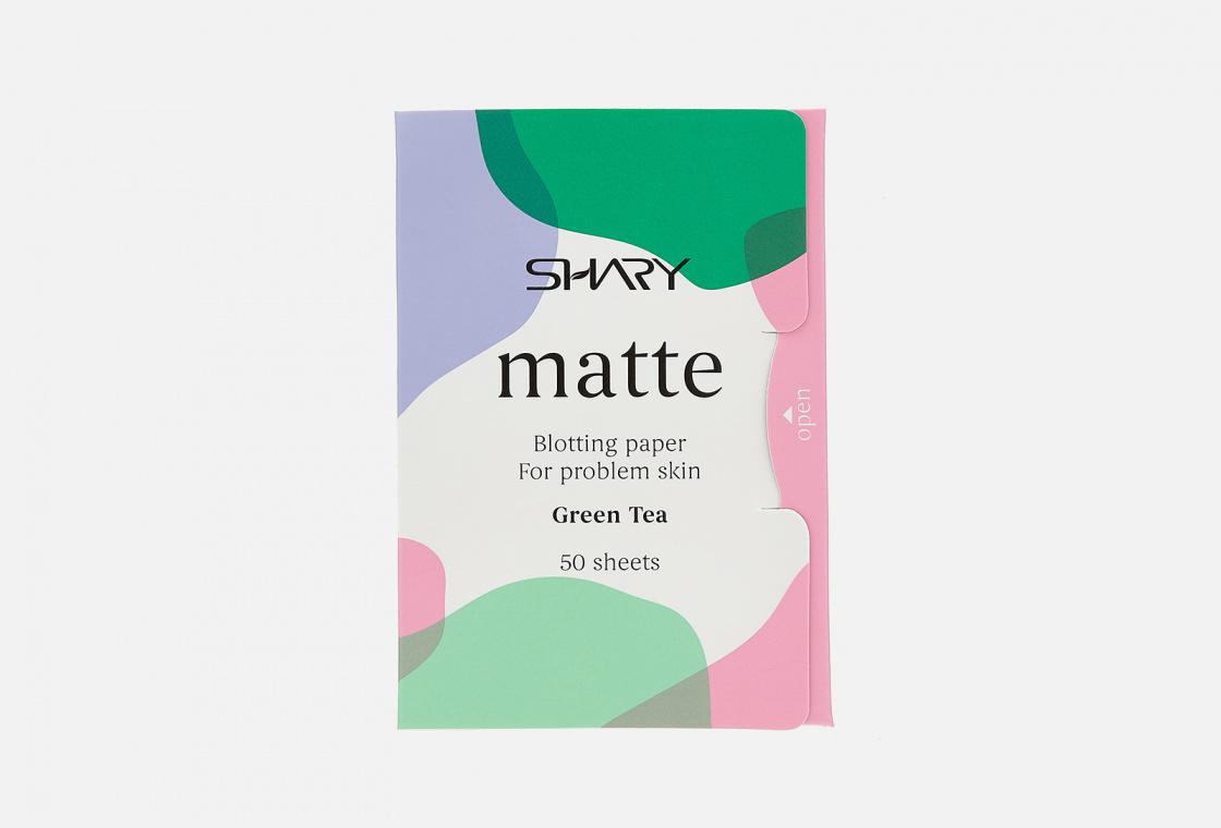 Матирующие салфетки для лица для проблемной кожи Shary Matte blotting paper for problem skin Green Tea